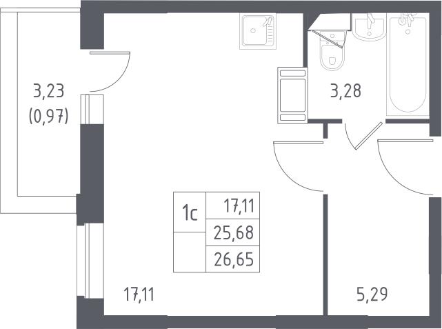 Студия, 26.65 м²– 2