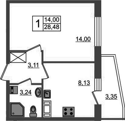1-к.кв, 31.83 м²