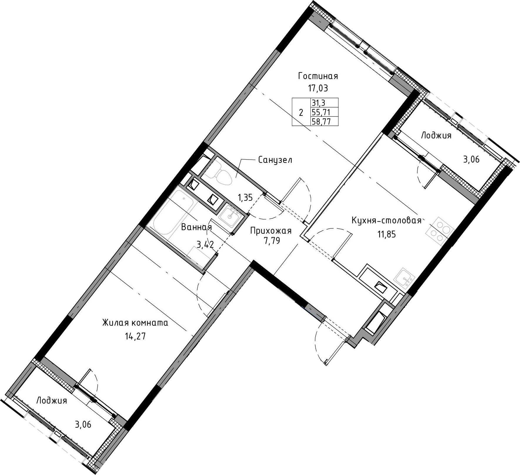 2-к.кв, 58.77 м², 3 этаж