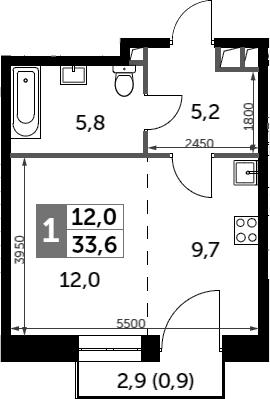 Студия, 33.6 м²– 2