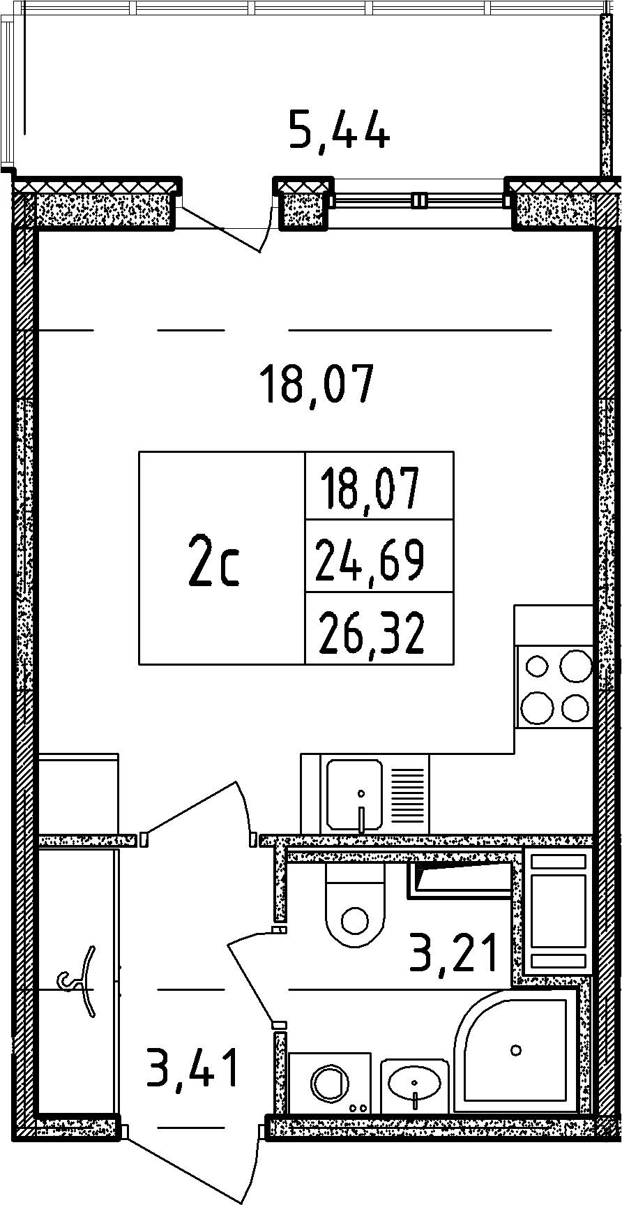 Студия, 24.69 м², 13 этаж