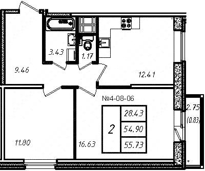 2-к.кв, 54.67 м², 8 этаж