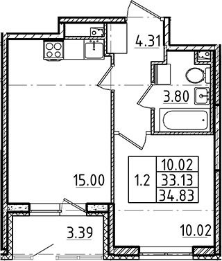 2Е-к.кв, 33.13 м²