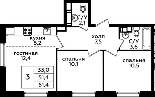 3Е-к.кв, 51.4 м²