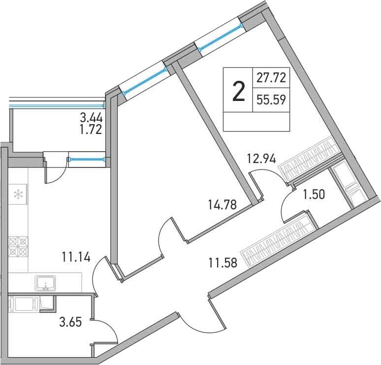 2-к.кв, 59.03 м²