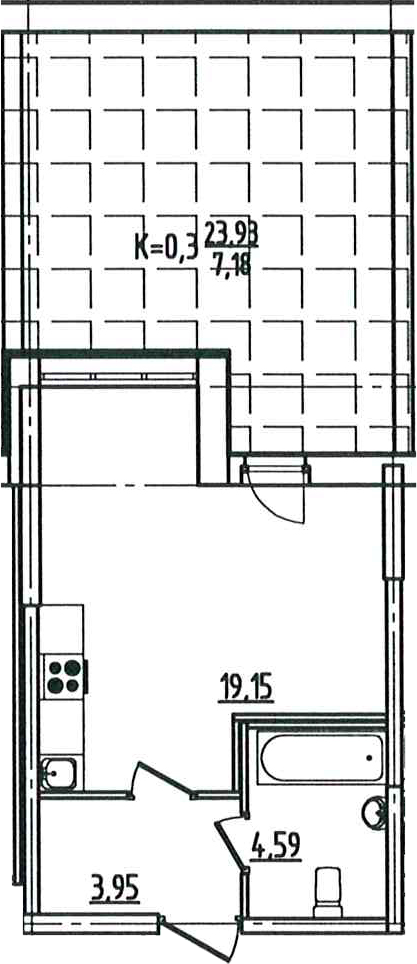 Студия, 34.87 м²– 2