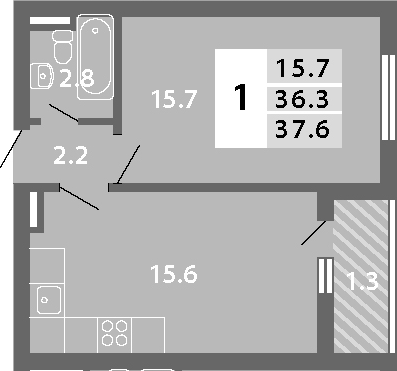 2Е-к.кв, 37.6 м², 15 этаж