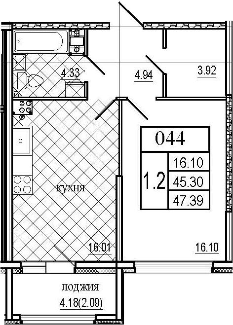 2Е-комнатная, 47.39 м²– 2