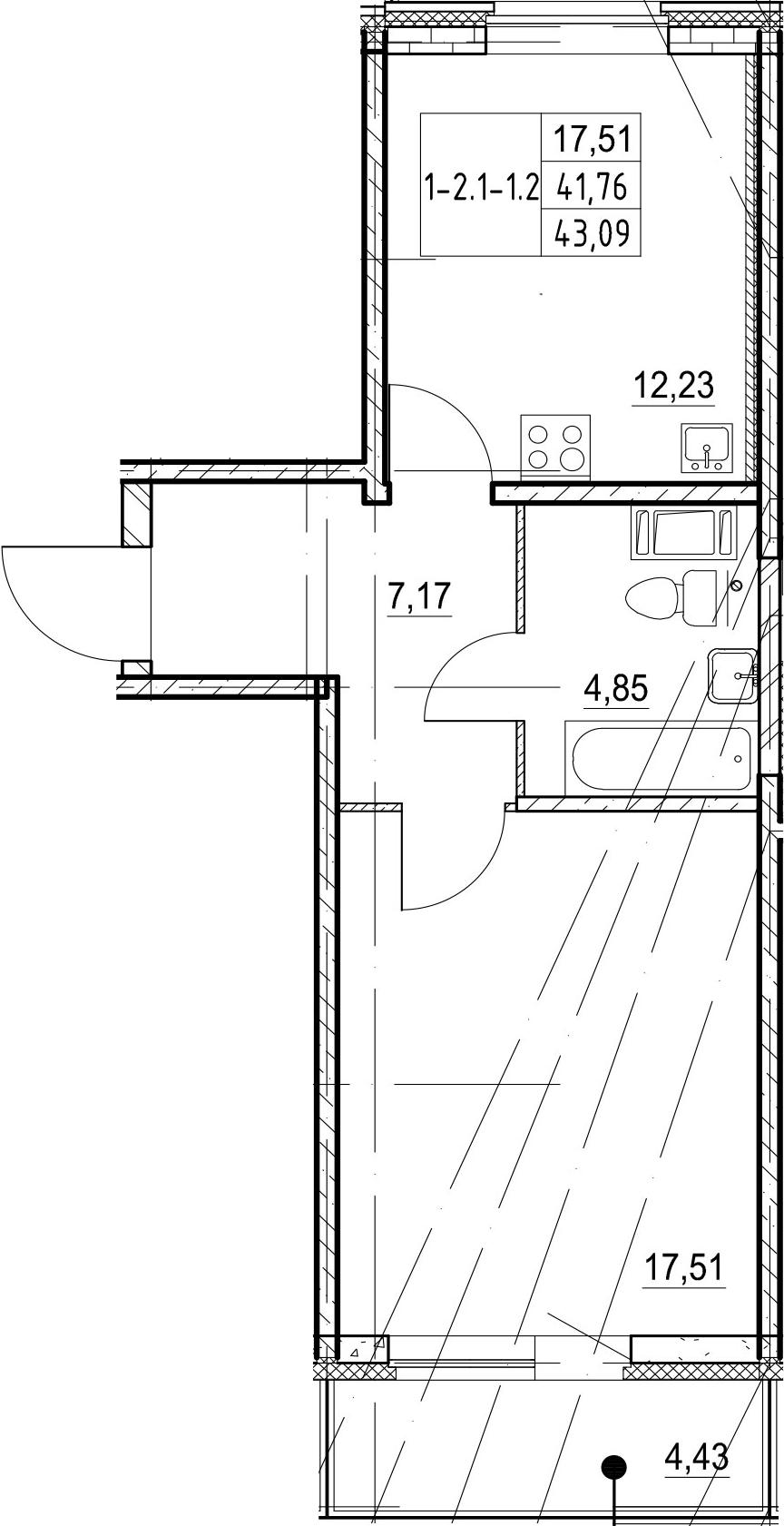 1-к.кв, 43.09 м², 17 этаж