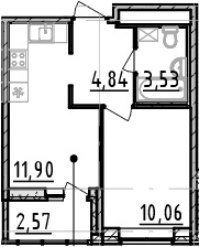1-комнатная, 30.33 м²– 2