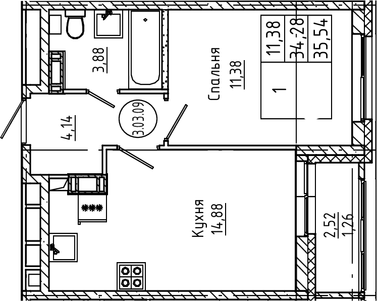 1-к.кв, 35.54 м², 3 этаж