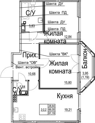3Е-к.кв, 67.19 м²