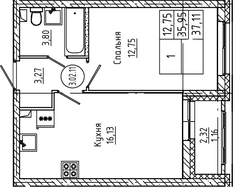 2Е-к.кв, 37.11 м², 2 этаж