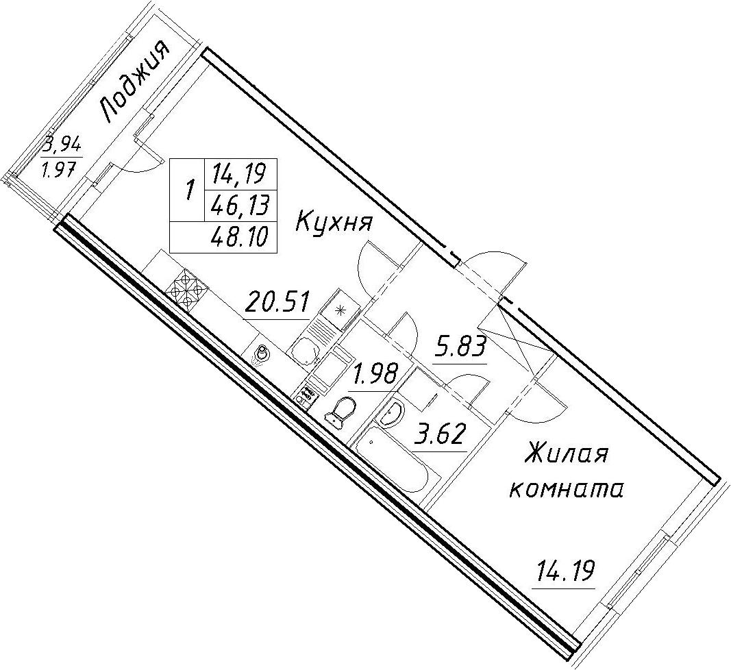2-к.кв (евро), 50.07 м²