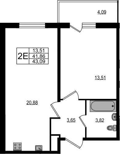 2Е-к.кв, 43.09 м²