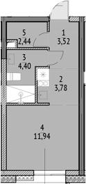Студия, 26.08 м²