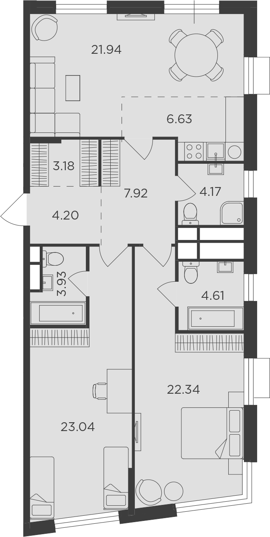 3Е-комнатная, 101.96 м²– 2