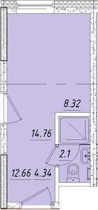 Студия, 14.8 м², 3 этаж