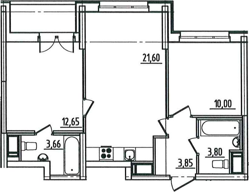 3Е-к.кв, 57.27 м², от 5 этажа