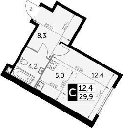 Студия, 29.9 м²