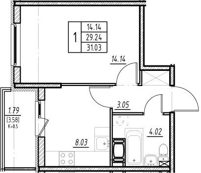 1-комнатная квартира, 32.82 м², 12 этаж – Планировка