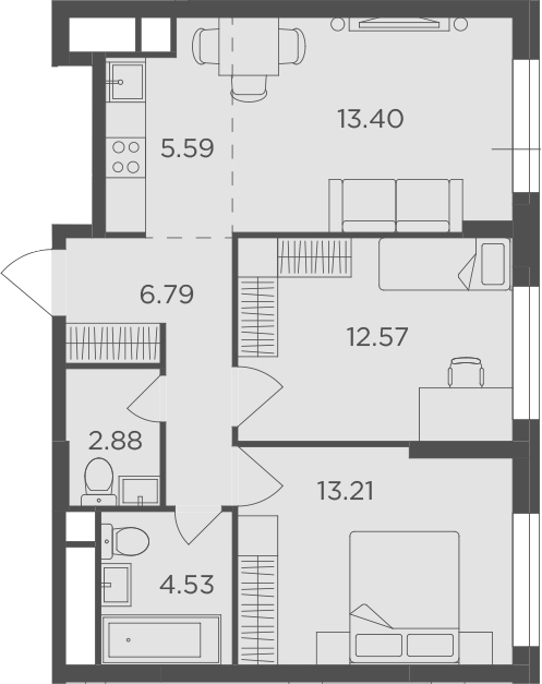 3Е-к.кв, 58.97 м²