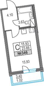 Студия, 23.66 м², 10 этаж