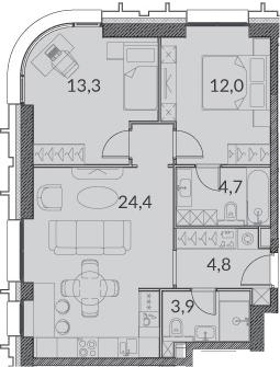 3Е-комнатная, 63.1 м²– 2