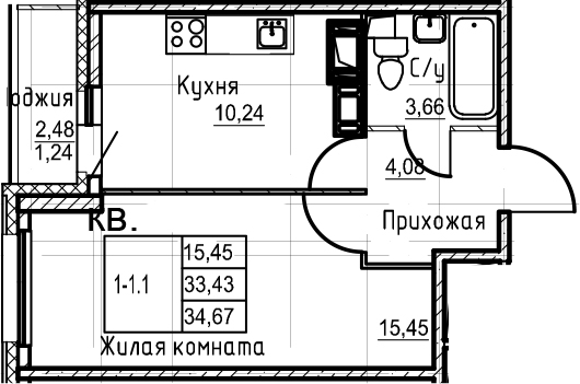 1-комнатная, 34.67 м²– 2