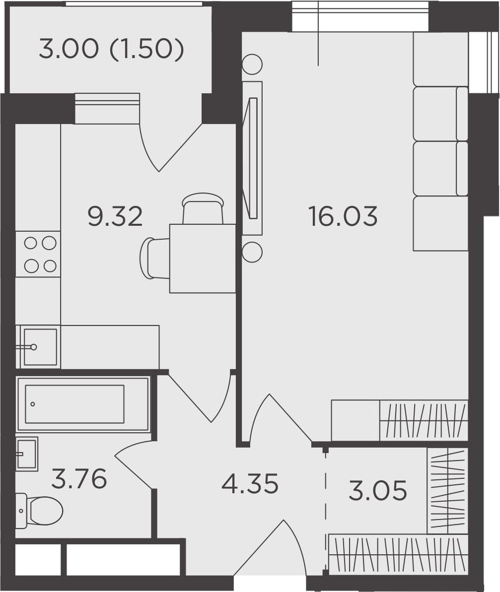 1-к.кв, 38.01 м², 21 этаж