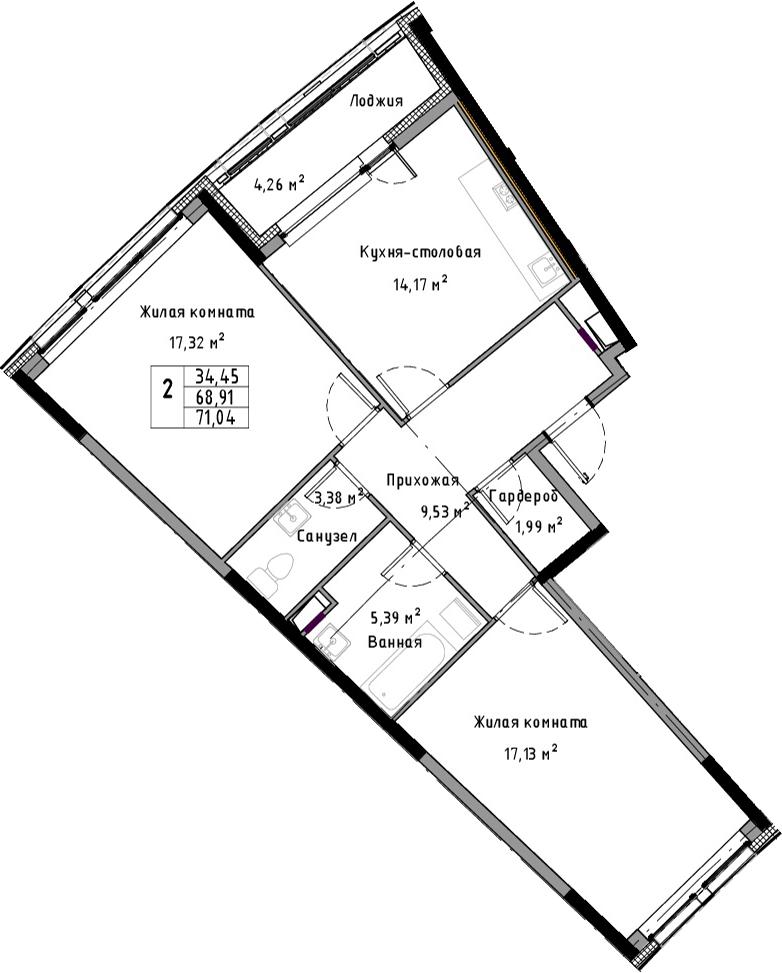 2-к.кв, 73.17 м²