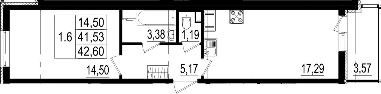 2Е-комнатная, 41.53 м²– 2