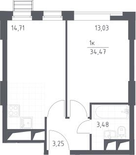 2Е-к.кв, 34.47 м², 16 этаж