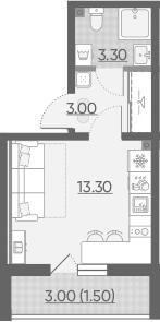 Студия, 21.1 м²