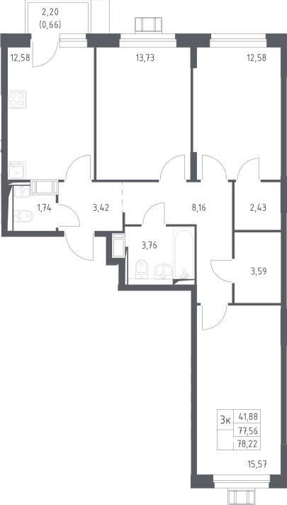 3-к.кв, 78.22 м²