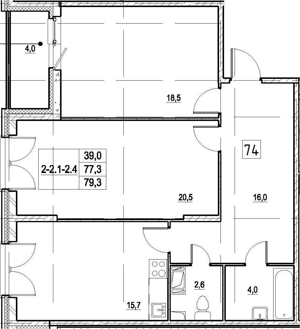 3Е-комнатная, 79.3 м²– 2