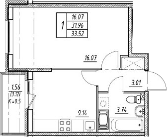 1-к.кв, 35.08 м²