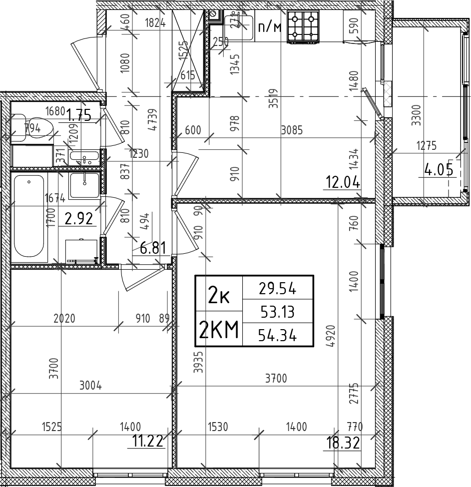 2-к.кв, 53.13 м²