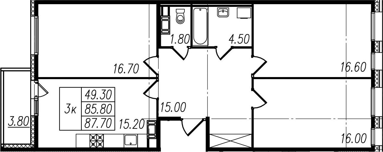 3-к.кв, 89.6 м²