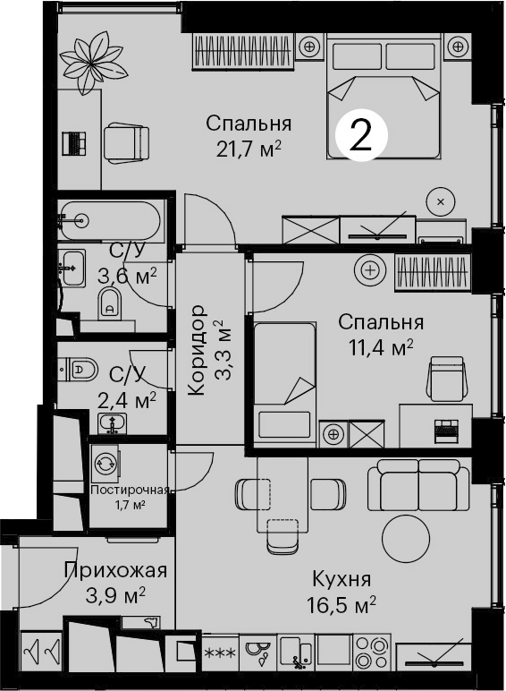 3Е-комнатная, 64.5 м²– 2