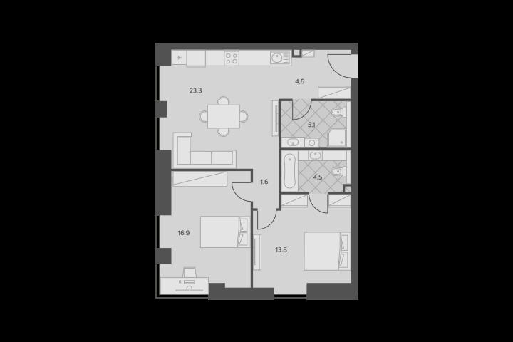 3Е-комнатная, 69.8 м²– 2