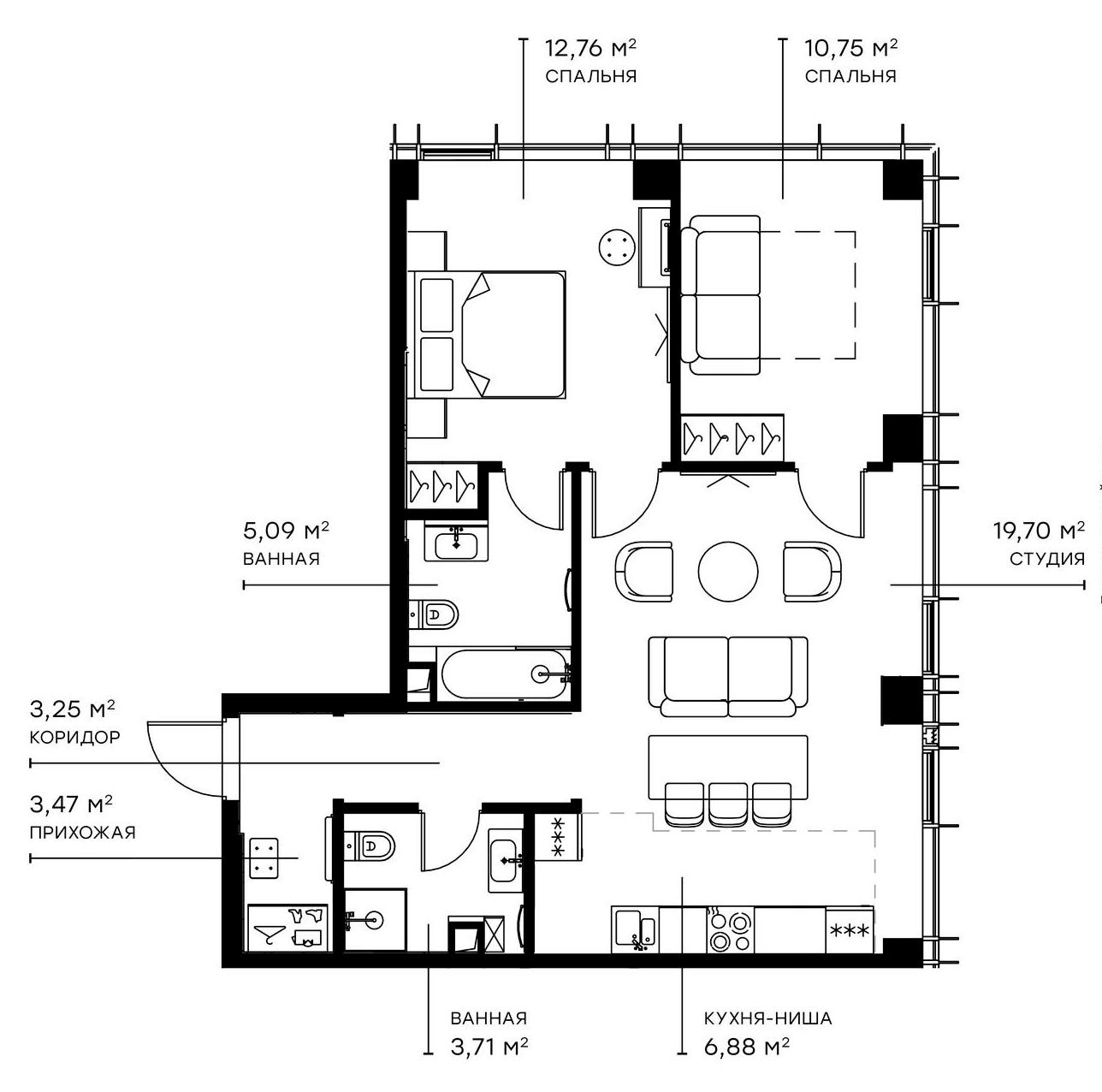 3Е-к.кв, 65.61 м²