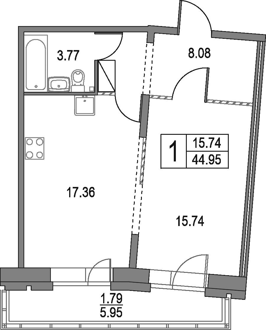 2Е-к.кв, 44.95 м², от 8 этажа
