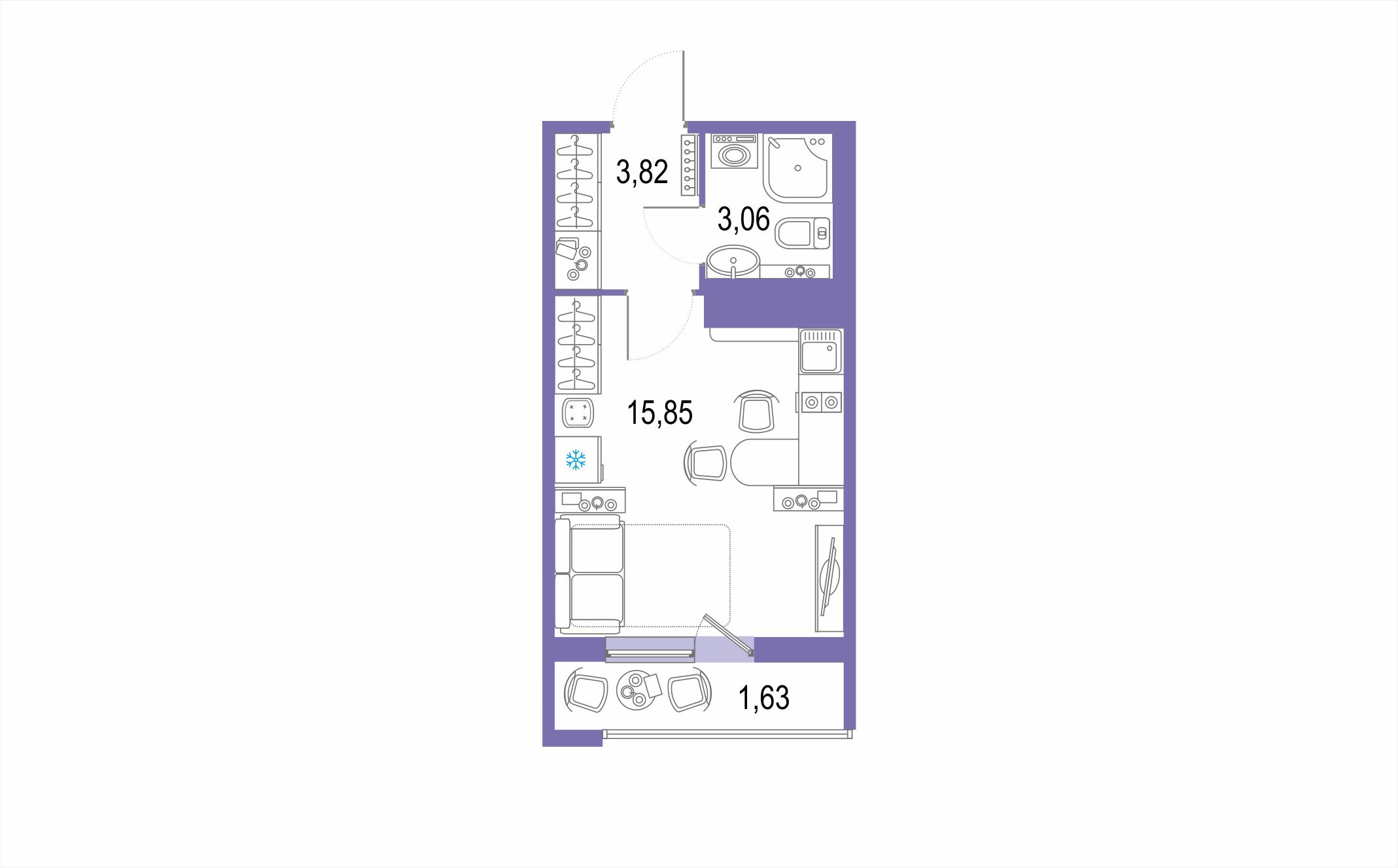 Студия, 26.07 м²