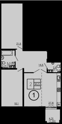 3Е-комнатная, 90.5 м²– 2