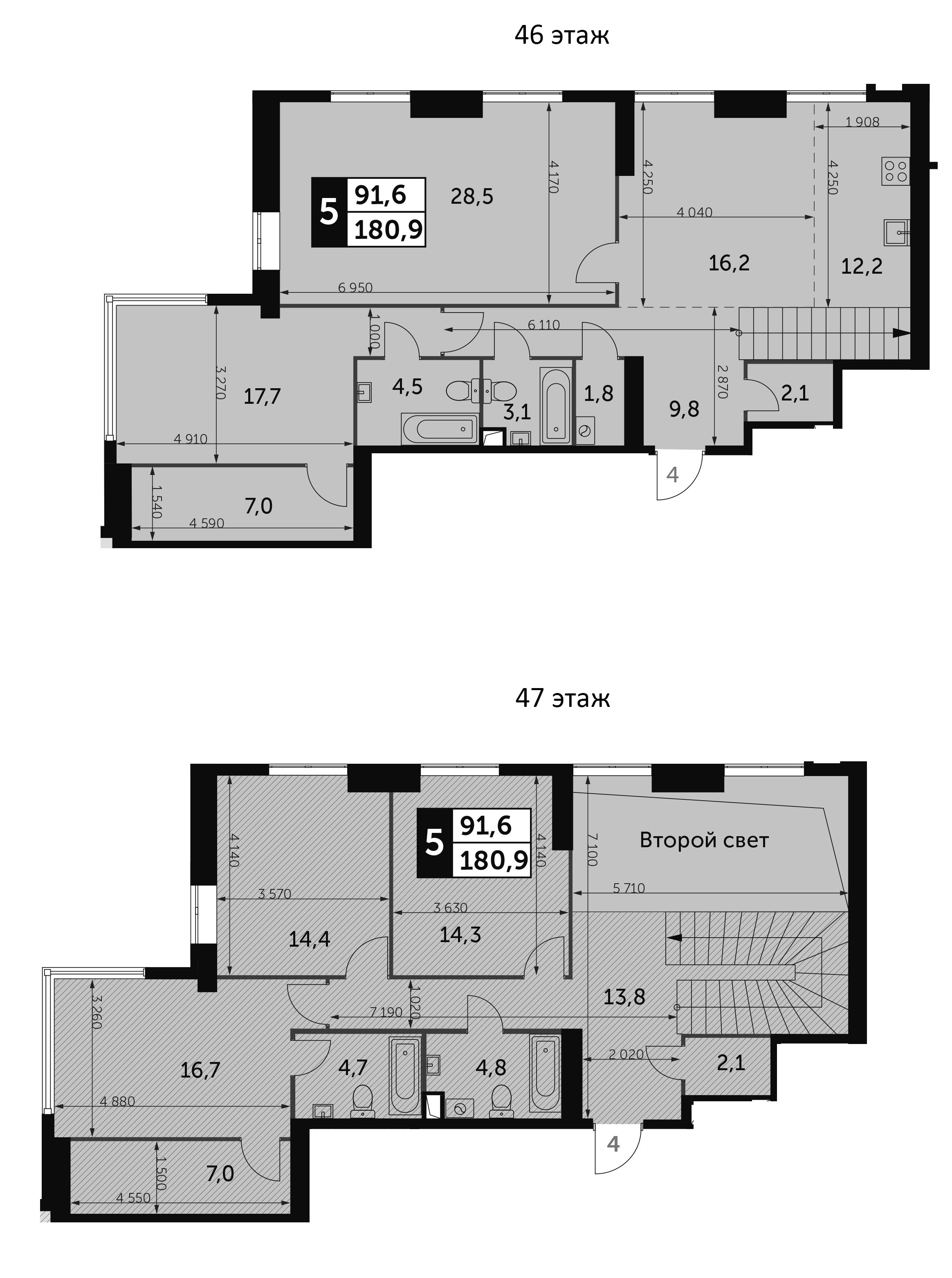 5-комнатная, 180.9 м²– 2