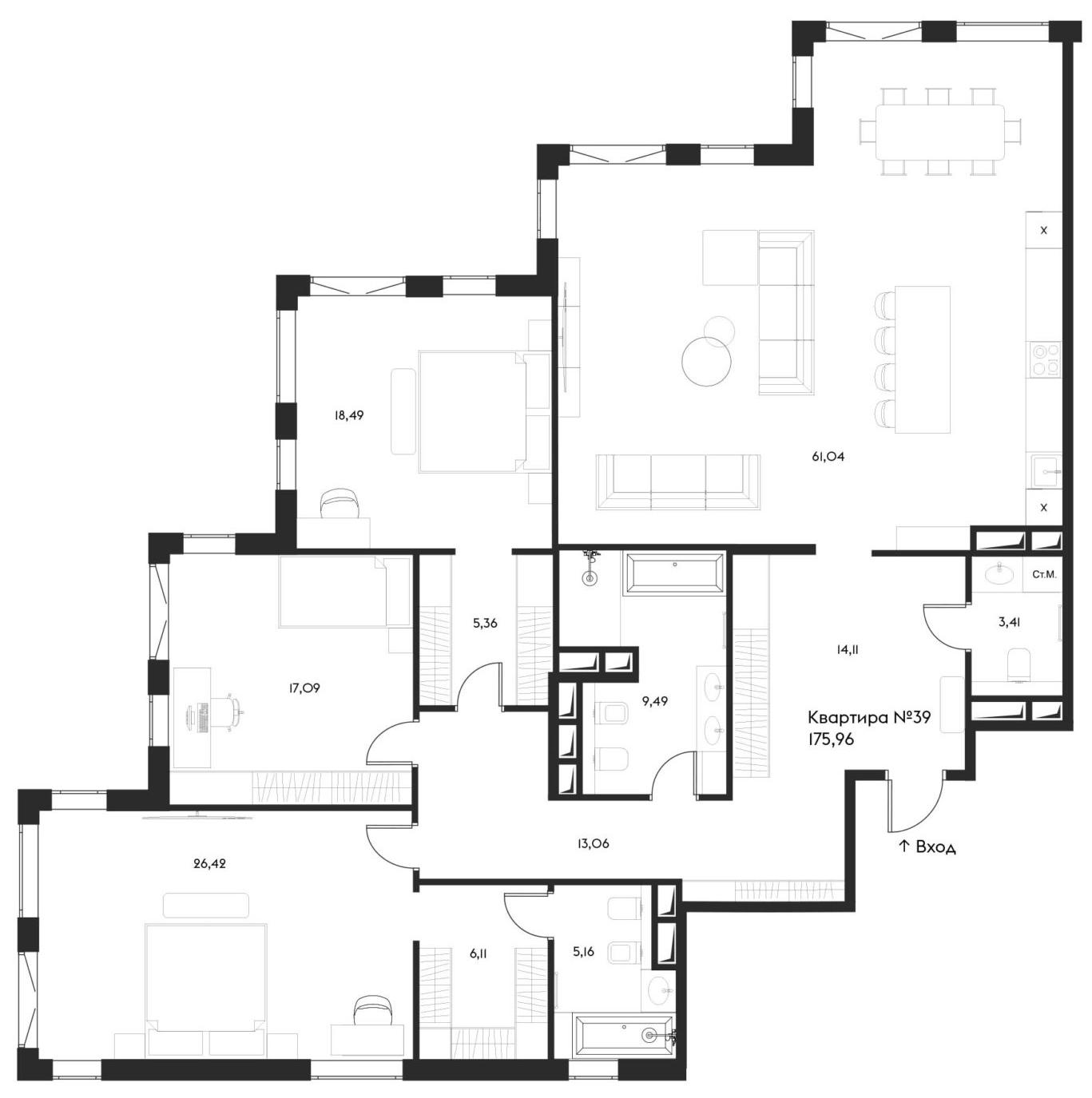 4Е-комнатная, 175.96 м²– 2