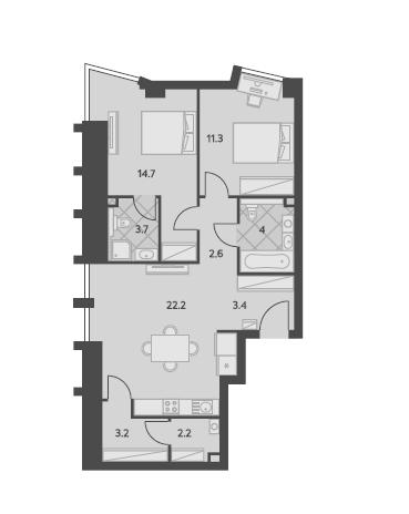 3Е-комнатная, 67.3 м²– 2