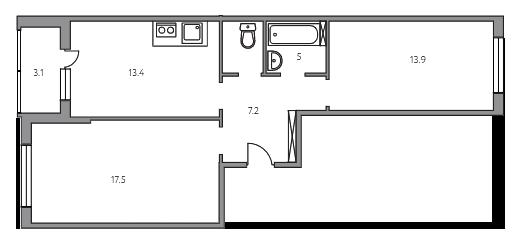 2-комнатная, 60.1 м²– 2