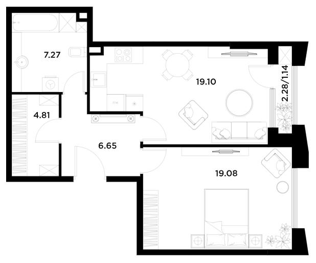 1-к.кв, 58.05 м²